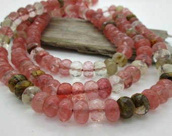 Pink Tiger Quartz Faceted Rondelle Beads, 10mm (30 beads)