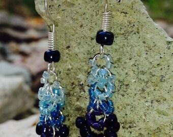 Blue Beaded Chandelier Earrings