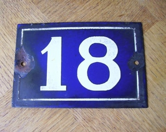 Vintage French House Number 18 Enamel Sign Plaque