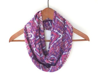Boho Infinity Scarf, Spring Scarf, Purple Infinity Scarf, Gift For Her, Mother's Day, Bohemian Print Scarf