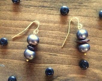 Freshwater Pearl & Disc Gold Earrings