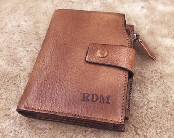 Personalized Mens Leather wallet-- Custom Engraved