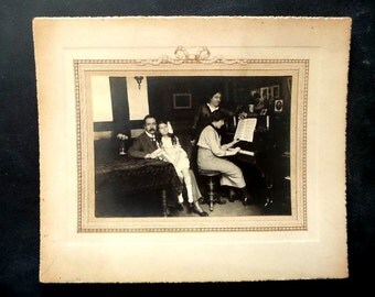 Antique French XL real family photo . Family portrait. 1930 The piano lesson..