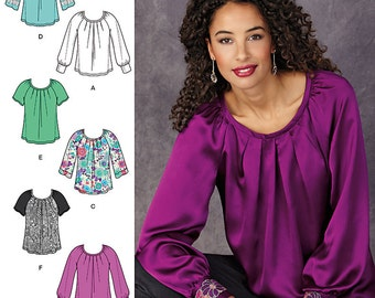 Simplicity Pattern 1315 Misses' Pullover Blouse with Sleeve and Trim Variations