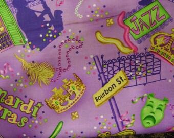 Mardigras Jazz Motifs Purple Cotton Fabric Sold by the Yard