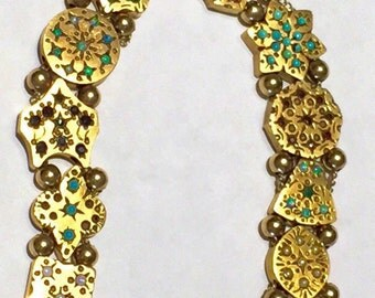 Victorian Charm bracelet 14K gold Ruby Emerald turquoise sapphire opal slide charm bracelet