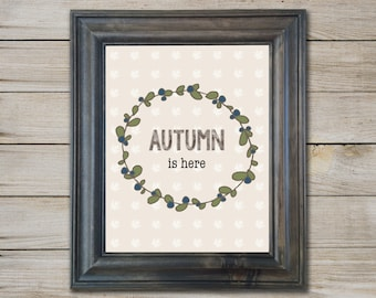 Autumn Printable - Instant Download - Fall Print - Autumn Art - Halloween Art - Holiday Print - Autumn Print - Thanksgiving - 8x10 Digital