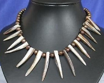 Handmade Tribal Style Spiky Shell and Copper Brown Pearl Necklace and Earrings
