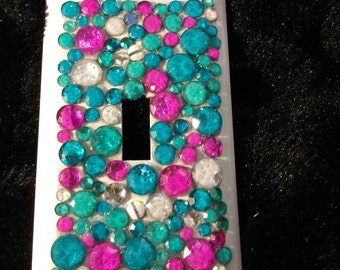 Magenta and Teal Rhinestone covered switch plate cover