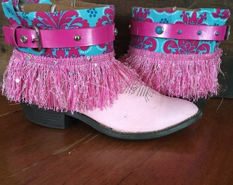 Upcycled pink western cowboy boots girl's size 1