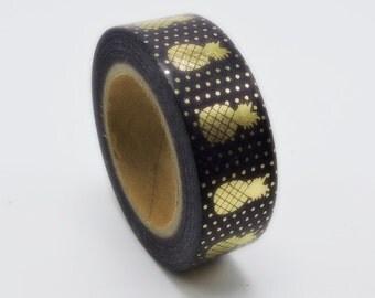 Black Pineapple Metallic Gold Washi Tape