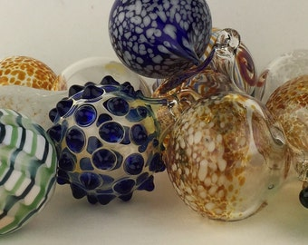 Hand-blown glass ornament, your choice of color and design