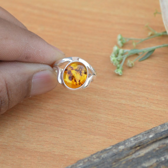 Genuine Lithuanian Baltic Amber, Yellow Amber Gemstone Ring, Sterling Silver Ring, Cocktail Designer Ring, Amber Ring, Cocktail Ring Size 6