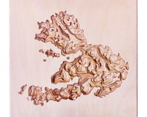 Wooden Wall Map of Mull. Carved Topographical Wooden Map Made with Birch Plywood and Wood Wax - Wooden map - Carved map