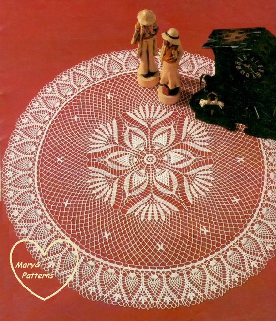Pdf pineapple crochet pattern doily home decor vintage - Crochet mural vintage ...