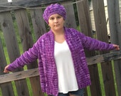 Handmade Knit Cardigan w/Matching Slouchy Hat in Purple Tones - Fits Medium to XLarge - Machine Wash & Dry