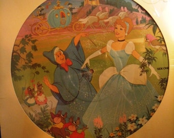 Vintage Walt Disney Picture Disc LP Cinderalla Original Soundtrack #3107