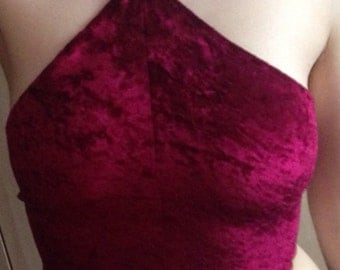 Reduced! More colours added! Crushed velvet halterneck crop top available in various colours!