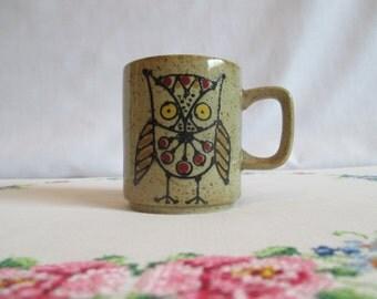 Vintage 1970's Owl Speckled Stoneware Mug