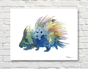 Porcupine Art Print - Abstract Watercolor Painting - Animal Wall Decor