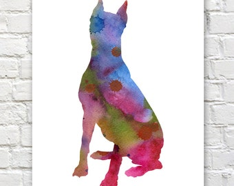 German Pinscher Watercolor - Abstract Painting - Dog - Wall Decor