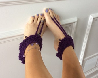 Crocheted barefoot sandals