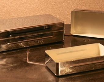 Pair of Silver Colored Storage Tins