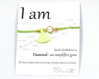 CIJ SALE April birthstone bracelet, dainty bracelet. gold minimal bracelet, minimalist jewelry, bridesmaid gift,  birthstone jewelry, I am C