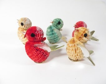 Vintage Set of 5 Honeycomb Bird Christmas Ornaments