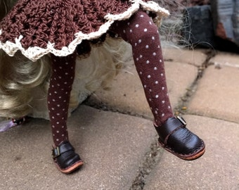 Polka dot Blythe doll tights, brown and white blythe leggings, brown doll tights, mori girl stockings, 12 inch doll tights, blythe doll gift
