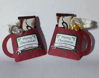 Christmas Hot Chocolate Mug Teacher Gift Packet Party Favour Design SVG Cutting File