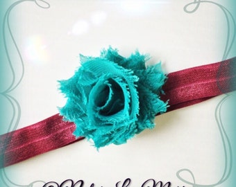 Shabby Frayed Teal Flower and Plum Fall/Autumn Headband