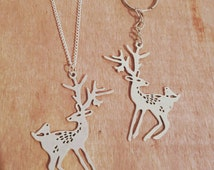 Deer Jewelry Earrings Necklace Keychain Pin Badge Bracelet Brooch Car Hanging Anklet Charm Keyring Magnet Choker Bookmark Antler Bird Bambi