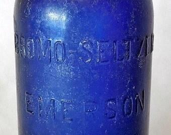 """Large Bromo Seltzer 6.5"""" Dark Blue Antique Medicine Bottle - Emerson Drug Co."""
