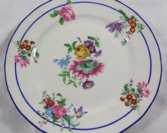 Set of 8 Limoges T & V Tressemann Vogt Lucheon Salad Plates Yellow Rose Floral