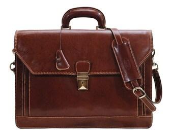 Venezia Brown Leather Briefcase, Laptop Bag, Leather Messenger Bag,  Attache (68BROWN)