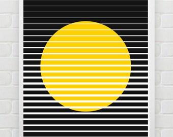 Oriental Sun , geomtric art,window,black and yellow,minimalistic poster printable, word art, modern poster Typography