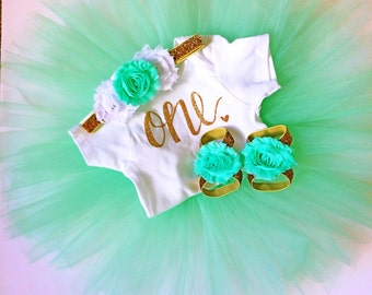 Baby girl first birthday outfit - mint - birthday outfit - Tutu Collection