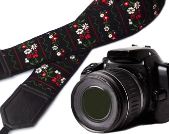 Flowers Camera strap.  Black Camera Strap DSLR / SLR. Camera accessories. Durable, light weight and well padded camera straps by InTePro