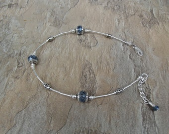 Sterling Silver Ankle Bracelet with Blue Chinese Crystals