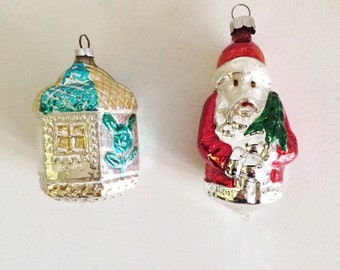2 Vintage Mercury Glass Christmas Ornaments, Shiny Bright, West Germany