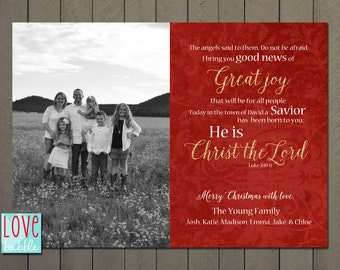 Christmas New Year's Photo Card, Religious, Christian, Scripture Card, Red PRINTABLE DIGITAL FILE - 5x7