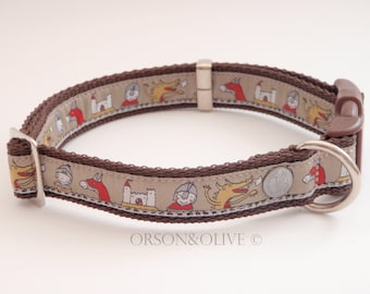 Medieval Mania (Nights, Dragons, Castles, Horses) Dog Collar - Available in 4 sizes (XS, S, M, L)