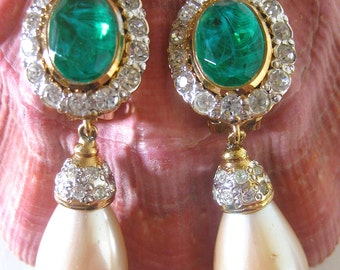 Mid Century Costume Jewelry/ Faux Pearl Drop Earrings