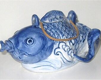 Vintage Chinese Blue and White Petite Porcelain Koi Teapot
