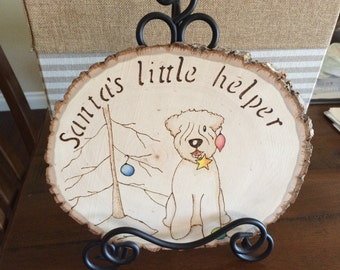 Wood wall plaque ornament Christmas decoration-Wheaten Terrier