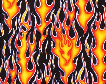 Wheels on Fire, Orange and Red Flames cotton fabric by Alexander Henry