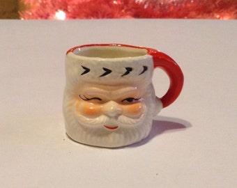 Miniature Santa Ceramic Mug 1950s Mid Century Christmas Decoration holiday Stocking Stuffer