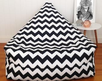 Black and White Chevon Bean Bag Chair