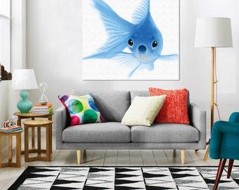 Blue Goldfish - Canvas Art - Art Print - Wall Art